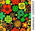 Colorful floral seamless pattern with shamrocks on black, vector - stock vector