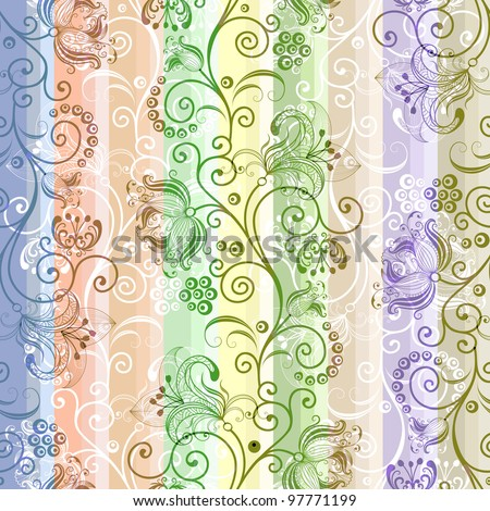 Colorful floral seamless striped translucent pattern (vector EPS 10) - stock vector