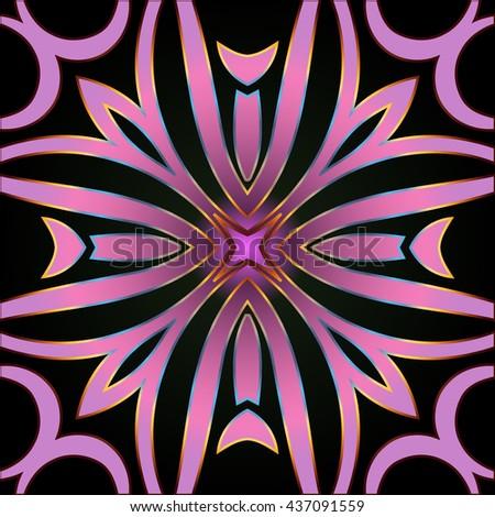 Colorful floral stylized flower wavy swirl folk classic geometric ornament background pattern - stock vector