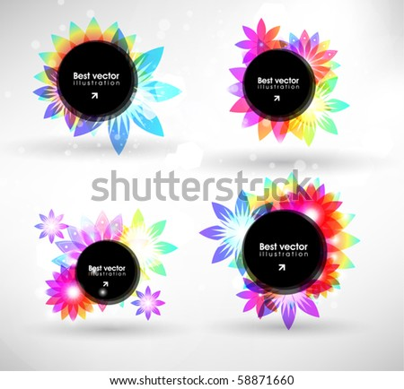 Colorful flower banner set - stock vector