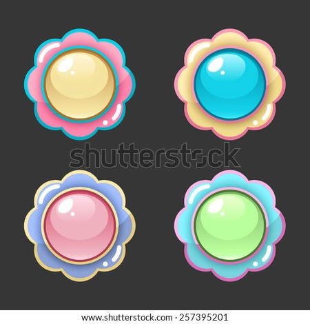 Colorful flower button set - stock vector