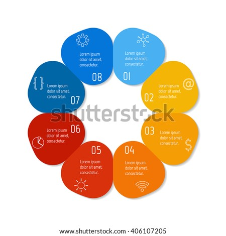 Colorful flower infographic banner template. Circular sequence banner with eight options. Round progress banner template with 8 parts. Business infographic design element EPS10. - stock vector