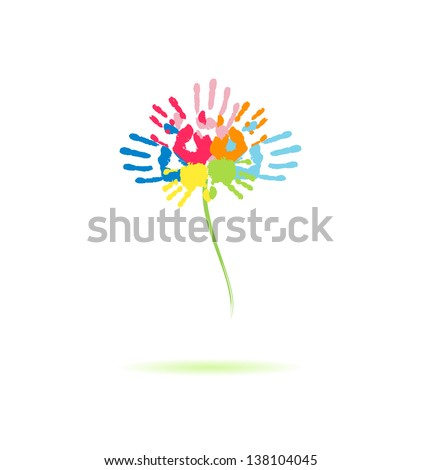 Colorful flower of the handprints of parents and children - stock vector
