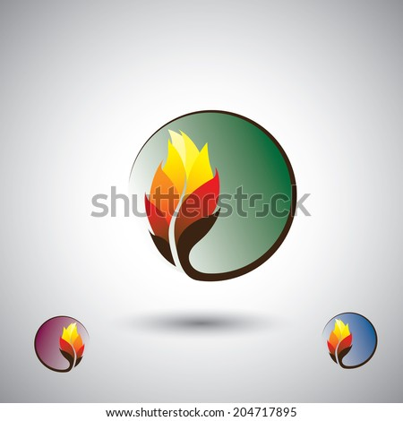 colorful flower or leaves & flourishing circle - eco concept vector. This graphic also represents environmental protection, nature conservation, eco friendly, renewable, sustainability, nature loving  - stock vector