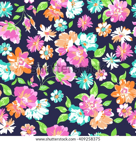 Colorful Flower print ~ seamless background - stock vector