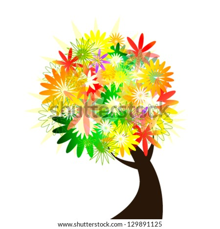 Colorful flower tree - stock vector