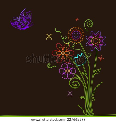 Colorful flowers and butterfly - stock vector