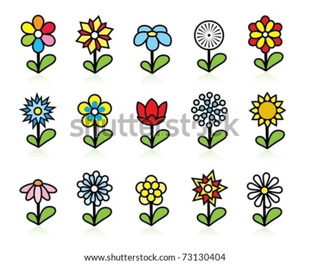 Colorful flowers icons - stock vector