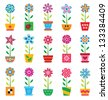 Colorful flowers in pots on white background - stock photo