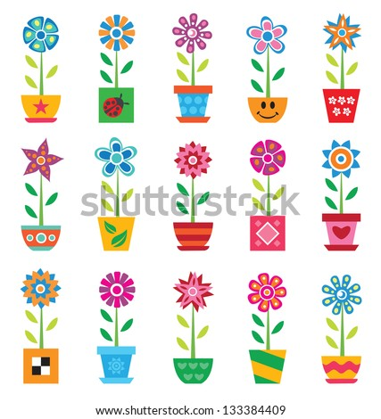 Colorful flowers in pots on white background - stock vector