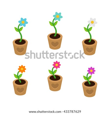 colorful flowers in vases vector background