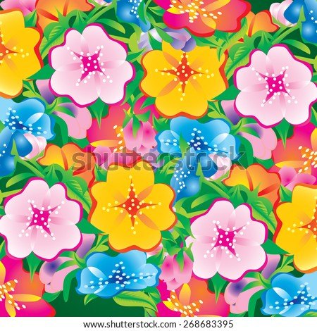 colorful flowers pattern background - stock vector