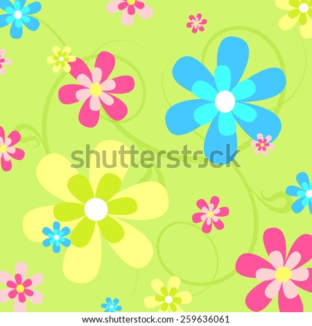 Colorful  Flowers Seamless Repeating Pattern. - stock vector