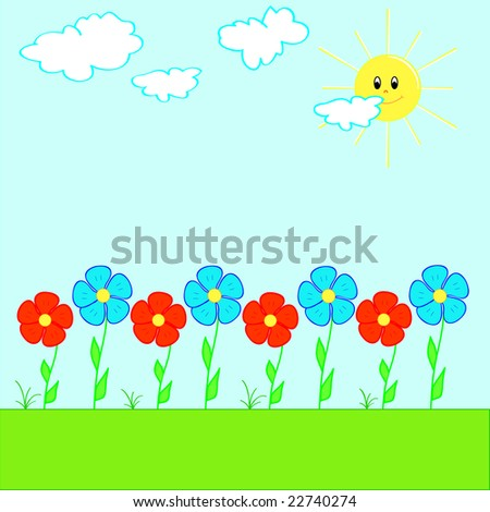 Colorful flowers - vector - stock vector