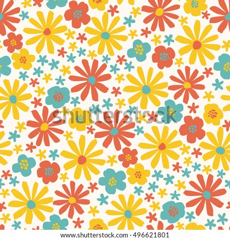 Colorful flowers - vector seamless pattern