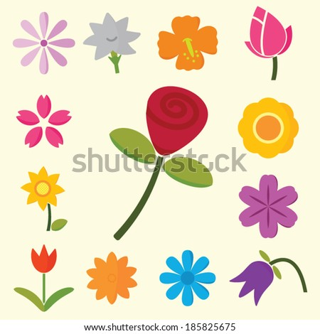 colorful flowers, vector symbols - stock vector
