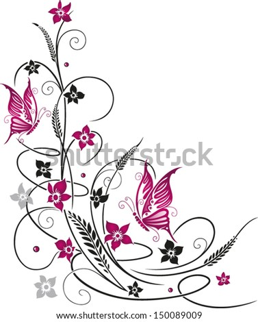 Colorful flowers with butterflies, black and pink - stock vector