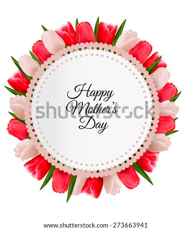 Colorful flowers with Happy Mother's Day gift card. Vector. - stock vector