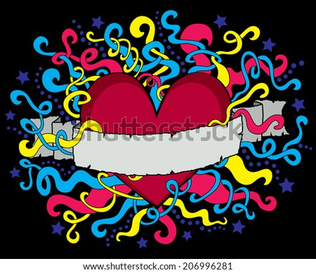 Colorful Fluorescent Vector Heart with Vintage Ribbon and Swirls