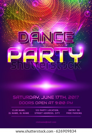 Colorful Flyer Dance Party Invitation Template Stock Vector - Party invitation template: club party invitation template