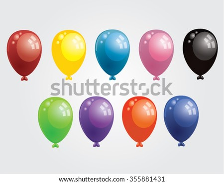 colorful flying balloons isolated illustration - stock vector