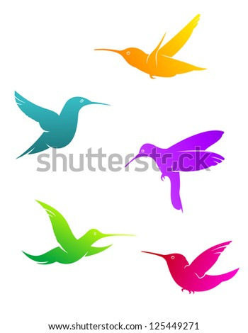 Colorful flying hummingbirds set isolated on white background, such as idea of logo. Jpeg version also available in gallery - stock vector