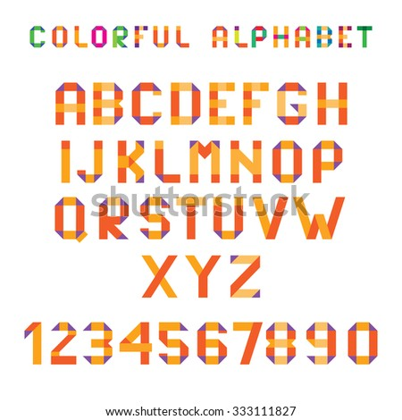 Colorful Folded Paper Vector Font Numbers Stock Vektr 333111827