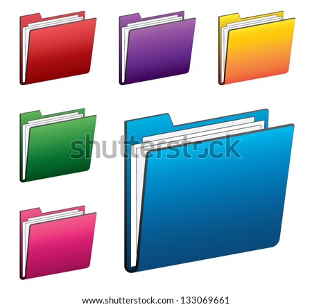 Colorful folder icon set