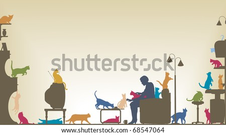 Colorful foreground silhouette of a woman in a living room with twenty cats with copy space - stock vector