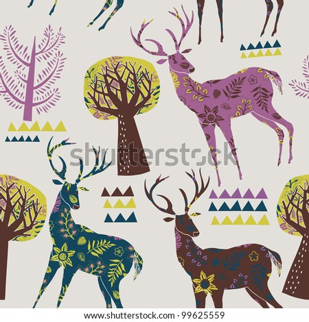 Colorful Forest With Deers Deco Tile - stock vector