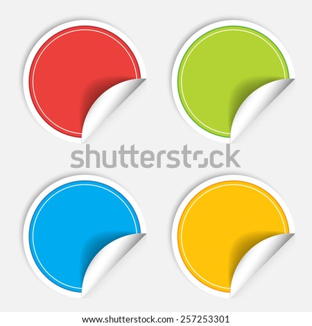 Colorful four blank stickers set. Badge collection. Vector illustration - stock vector