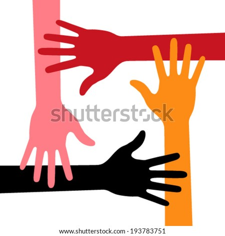 Colorful Four Hands Icon, vector illustration  - stock vector