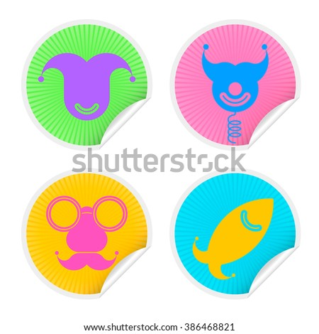 Colorful four sticker set with Fools Day Symbols. Vector illustration april fools icons badge collection in different colors isolated on white background.  - stock vector