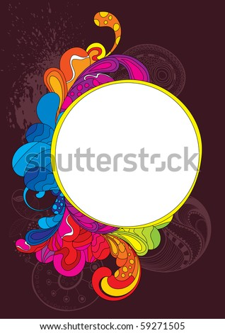 Colorful frame. Strokes are editable, you can change its color and size - stock vector