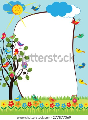 Colorful frame with flowers and birds in summer