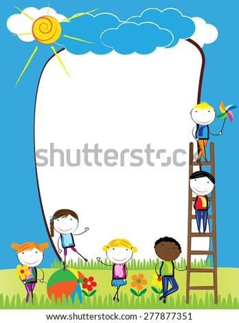 Colorful frame with happy girls and boys - stock vector