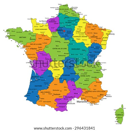 Colorful france political map clearly labeled vectores en stock colorful france political map with clearly labeled separated layers vector illustration gumiabroncs Image collections