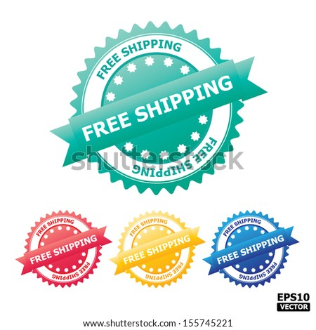 "Colorful ""free shipping"" sign, rubber stamp, sticker, tag, label, icon, button, symbol.-eps10 vector - stock vector"