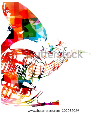 Colorful french horn with hummingbirds - stock vector