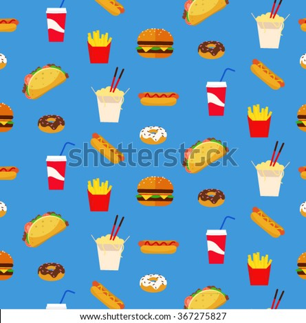 Colorful Fresh Flat Design Fast Food Restaurant Pattern Wallpaper With Light Royal Blue Background