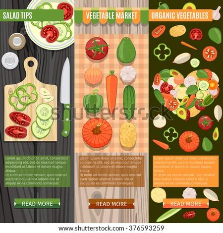 Colorful Fresh Vegetables Banners Set. Salad Tips. Vegetable Market. Organic Vegetables - stock vector