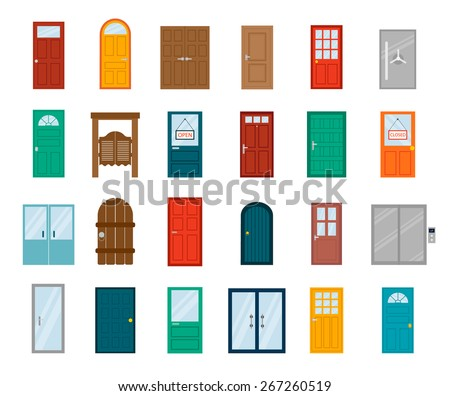 Colorful front doors to houses and buildings set in flat design style isolated, vector illustration - stock vector