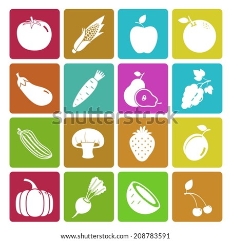 Colorful fruit and vegetable icon set