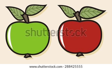 Colorful fruit illustrations - Apples (1 of 4) - stock vector
