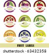 colorful fruit labels - vector illustrations - stock vector