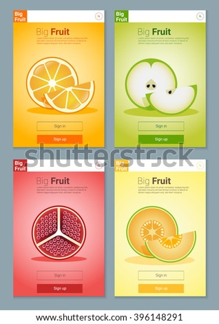 Colorful Fruits banner for app design, vector, illustration