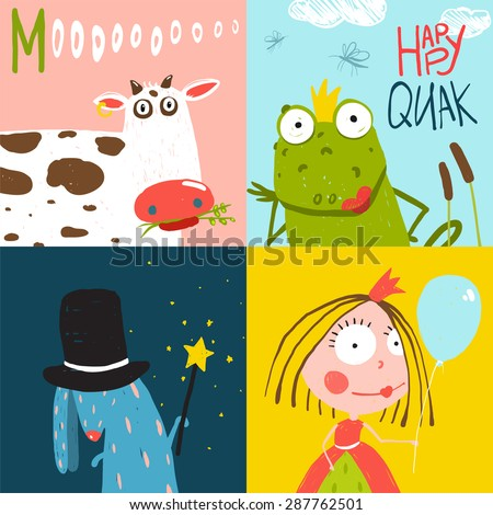 Colorful Fun Cartoon Hand Drawn Animals Greeting Cards for Kids. Amusing bright fun baby animals illustrations for children. - stock vector