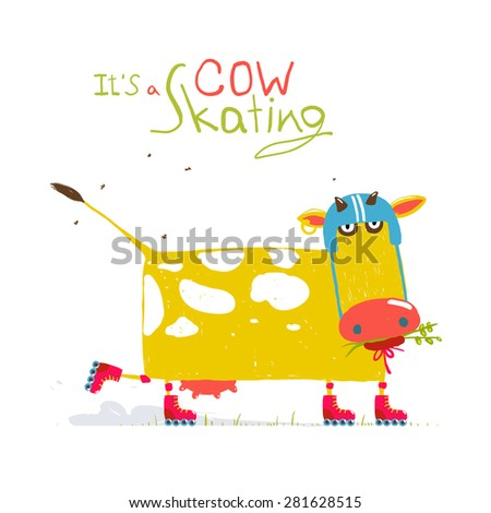 Colorful Fun Cartoon Roller Skating Cow Wearing Helmet for Kids. Countryside amusing skating baby animal illustration for children. Vector EPS10. - stock vector