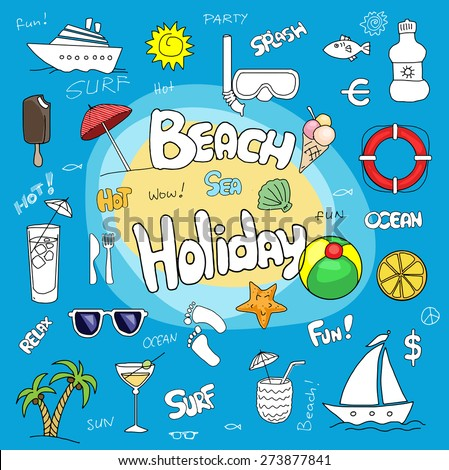 Colorful fun set of hand drawn beach holiday, travel related items and text, vector illustration