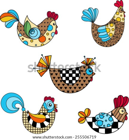 Colorful Funky Chicken Set - stock vector